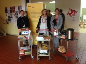 André Leblanc, Christina Romlid och Charlotte Lindgren, Högskolan Dalarna förbereder SULF-dagen.