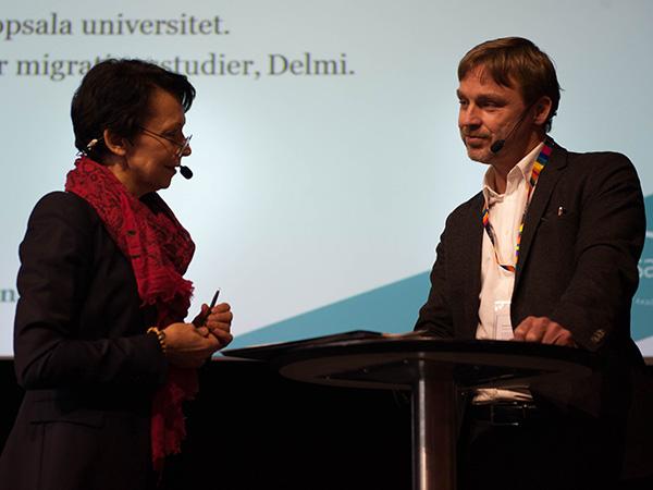 Nedjma Chaouche och Joakim Palme på Akademikernas högskolepolitiska forum 2016.