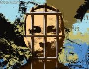 Illustration av en fängslad Ahmadreza Djalali